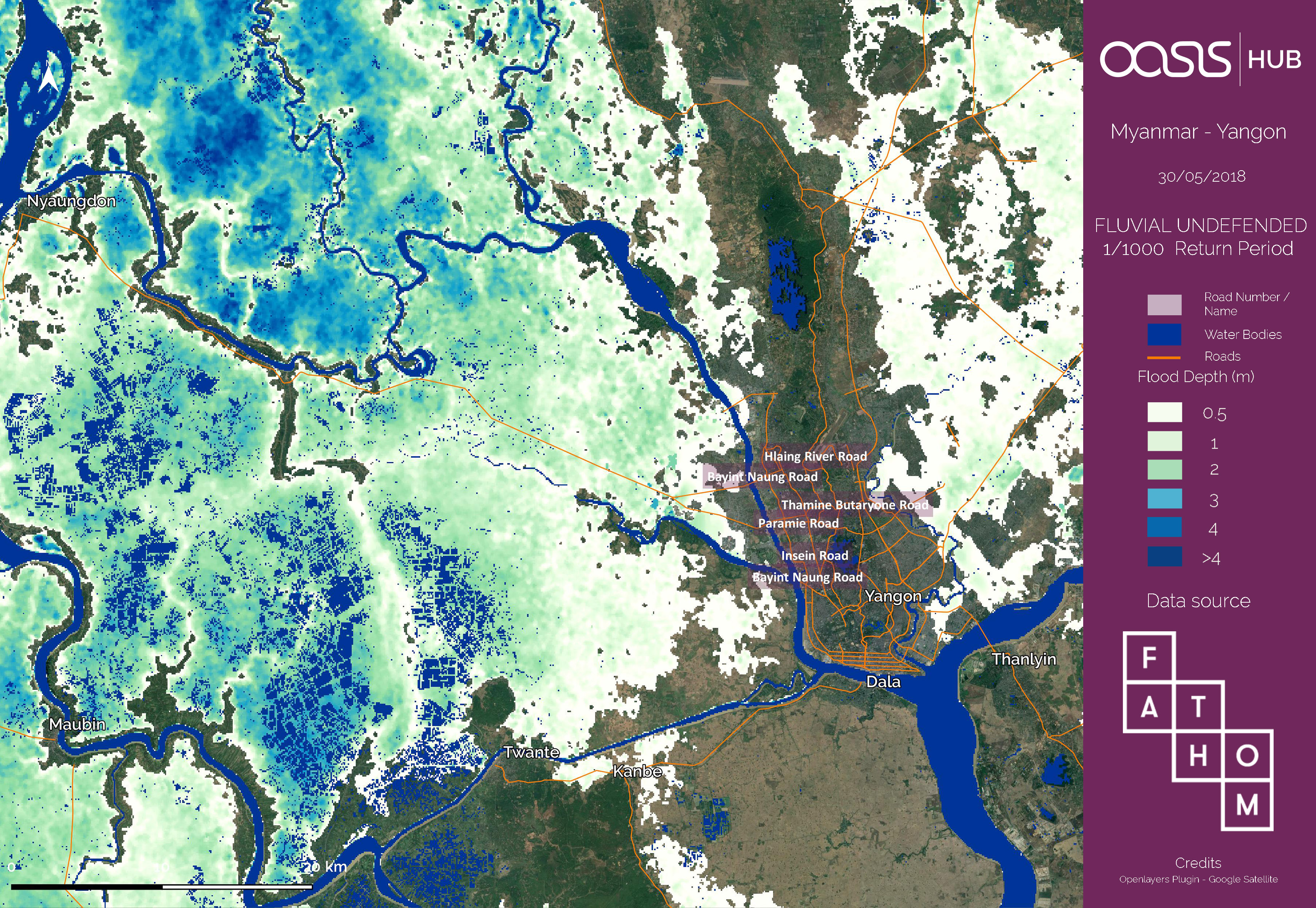 Myanmar Yangon Flood Hazard Full Package Fathom Datasets